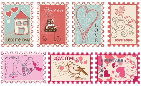 Love wedding stamps collection  Vector