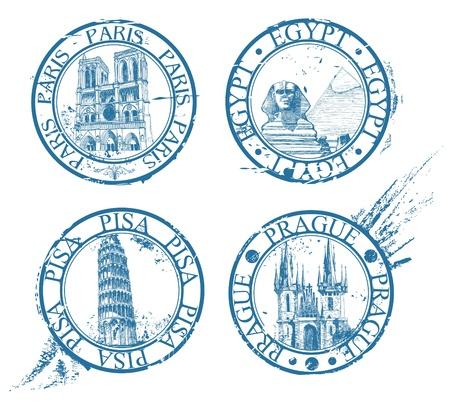 esfinge: Colecci�n de sellos de viajes de tinta: Pisa, Par�s, Praga, Egipto  Vectores