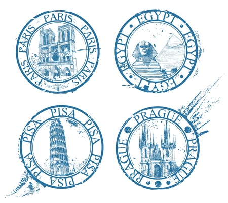 czech culture: Ink travel stamps collection: Pisa, Paris, Prague, Egypt
