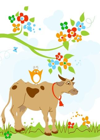 Cute cow and bird friendship  Vector