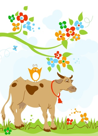 Cute cow and bird friendship  Vector