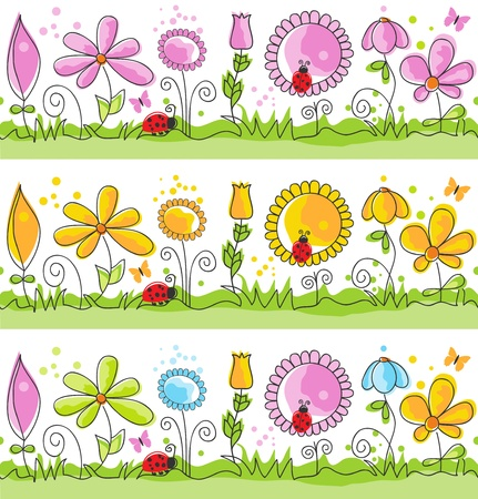 Cartoon summer nature scene (seamless patterns)  Vector