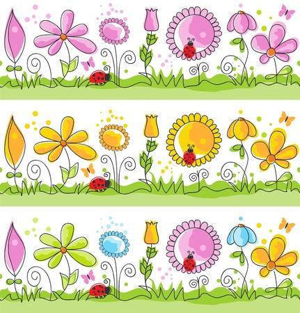 butterfly ladybird: Cartoon summer nature scene (seamless patterns)  Illustration