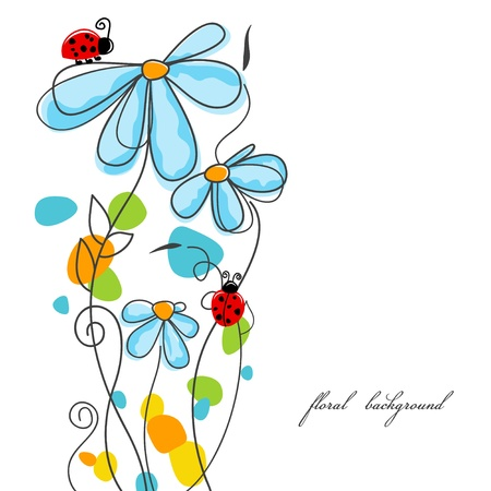 Flowers and ladybugs love story  Vector