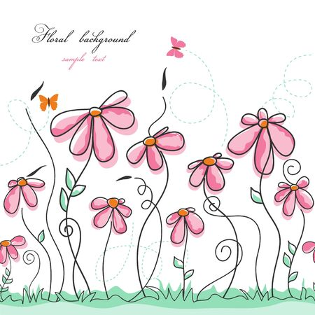 Jardín de flores rosadas con mariposas Ilustración de vector