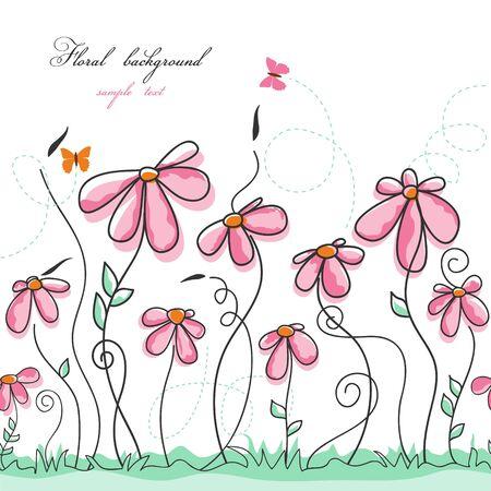 Jardín de flores rosadas con mariposas