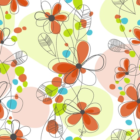 Bright floral seamless background  Vector