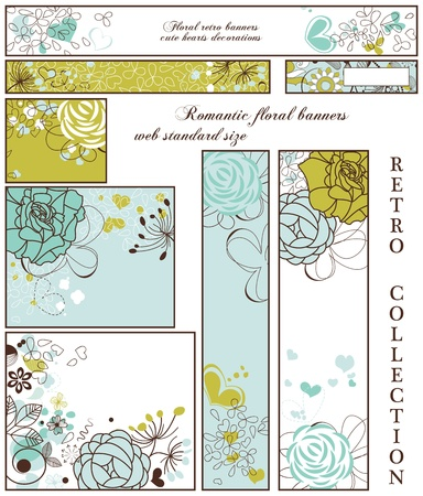 bookmark: Retro floral banners; standard web size