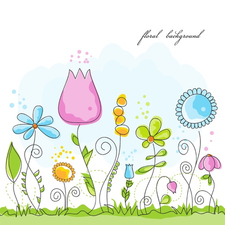 Vector summer floral background  Vector