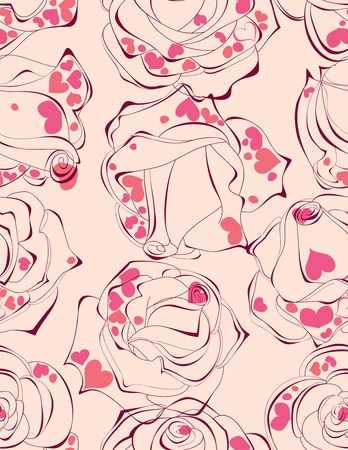 Love roses seamless pattern Stock Vector - 9629233
