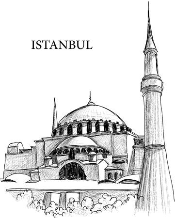 mezquita: Esbozo de Catedral de Santa Sof�a de Estambul  Vectores