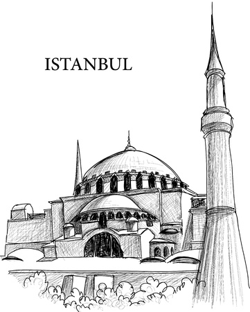minarets: Istanbul St. Sophia cathedral sketch