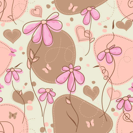Pink flowers and hearts seamless pattern Stock Vector - 9692760