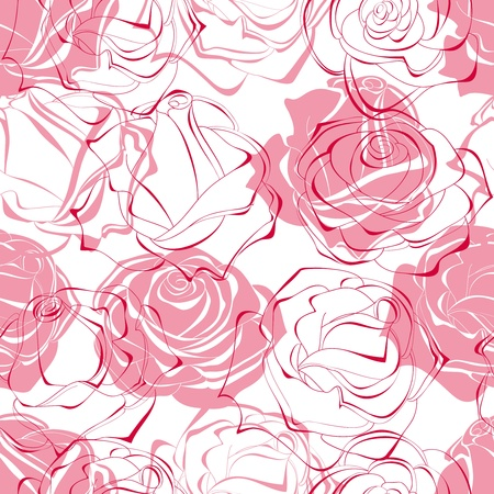 rose flowers: Pink roses seamless pattern