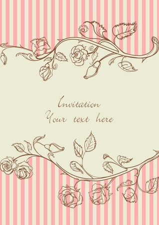 Vintage frame with roses Stock Vector - 9692765