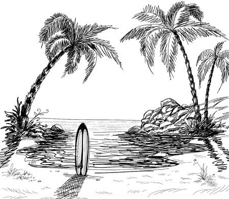Zeegezicht tekenen met palmbomen en surfplank in het zand  Vector Illustratie