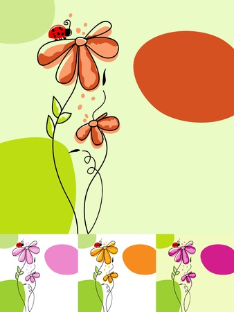 Cute floral background in various colors  Vector