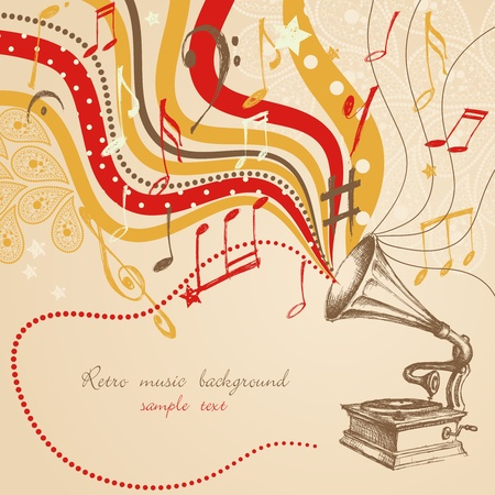 phonograph: Retro music background  Illustration