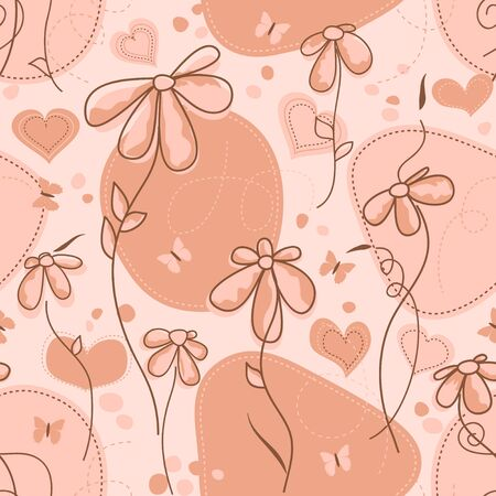wallflower: Floral seamless pattern in pink and coral tones