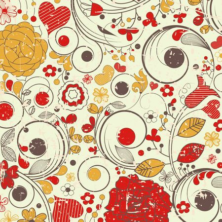 Vintage floral pattern; grunge texture, removable  Vector
