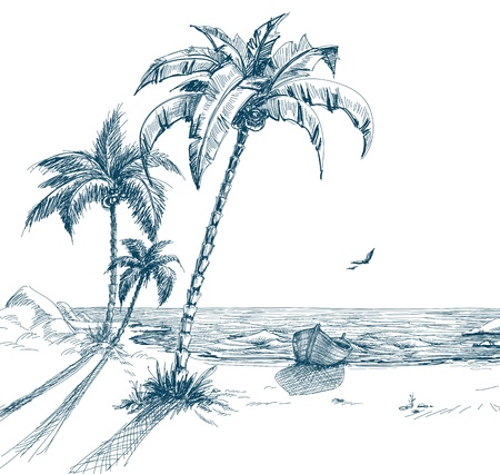Summer beach with palm trees, seagulls and boat on shore; hand drawn vector