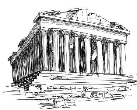 arte greca: Schizzo di Grecia Partenone  Vettoriali
