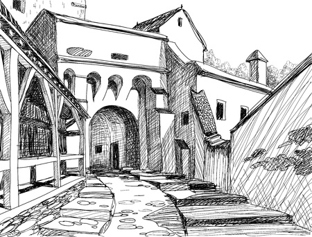romania: Medieval citadel sketch; this is the main entrance in the Schasburg citadel where Vlad Dracul (the father of legendary Dracula) lived for a while