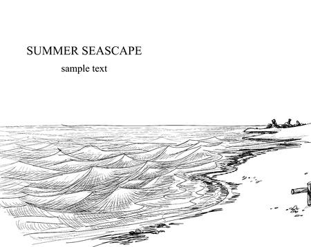 sea line: Summer seascape sketch  Illustration