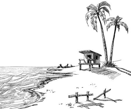 sketch: Zomer strand schets met palmbomen en badmeester stand