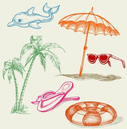 palmtrees: Summer beach holiday items Illustration