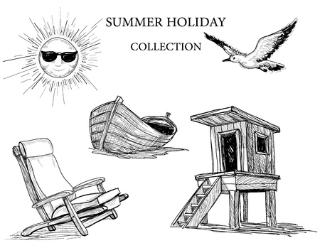 Summer beach collection of icons Vector