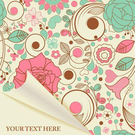 papel tapiz turquesa: P�gina de papel con motivo floral retro Vectores