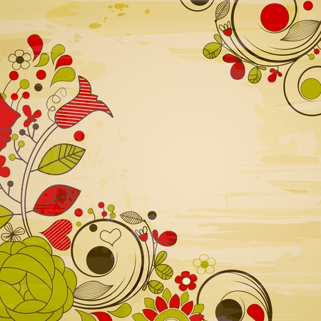 Old paper background, retro floral decorations Stock Vector - 9764326