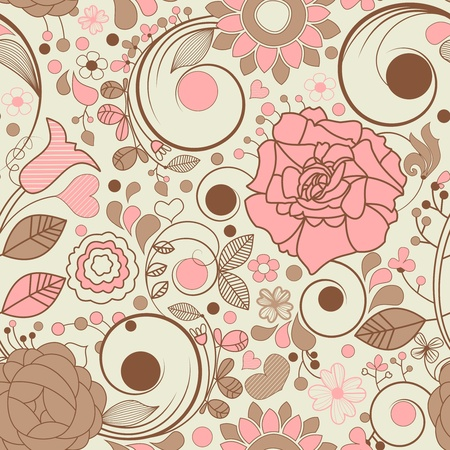 Romantic floral seamless background  Vector