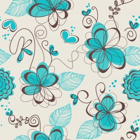 papel tapiz turquesa: Retro floral patr�n transparente