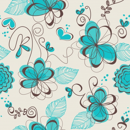 turquoise: Retro floral seamless pattern