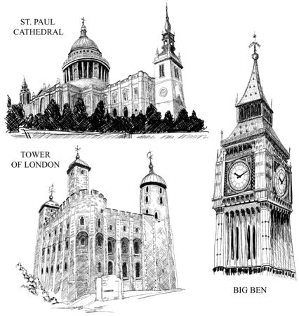 London architectural symbols: St. Paul Cathedral, Big Ben, Tower of London Vector