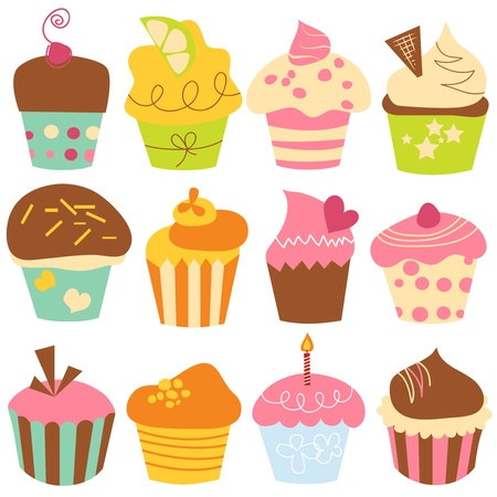Cute cupcakes collection Stock Vector - 9884551