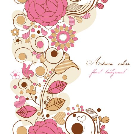 twirls: Floral background in autumn colors Illustration