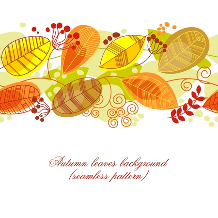 fall border: Autumn leaves background (seamless pattern)