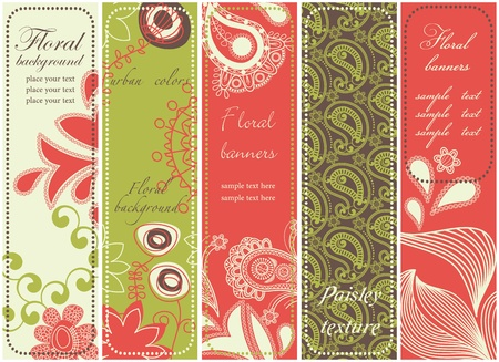 bookmarks: Floral paisley banner collection  Illustration