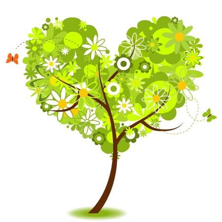 green heart: Eco tree  Illustration