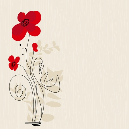 poppy leaf: Cute floral greeting card  Illustration
