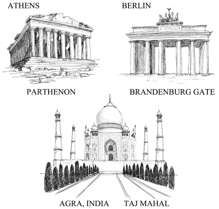 Iconische gebouwen, beroemde vakantiebestemmingen (potlood-tekeningen)