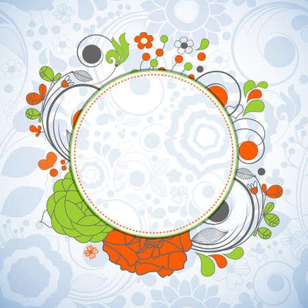 Floral circular banner  Vector