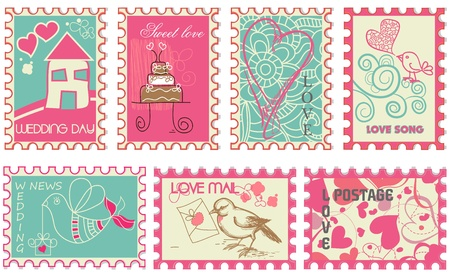 Cute retro wedding stamps  Vector