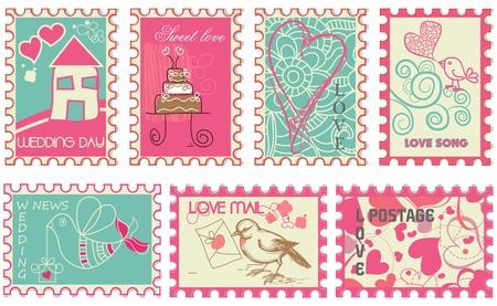 Cute retro wedding stamps  Vector