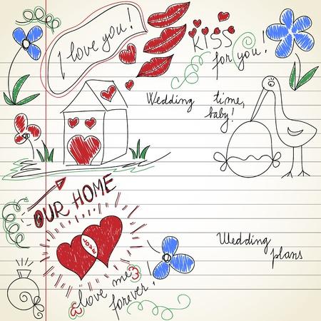 Wedding time doodles  Vector
