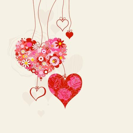 Herzen auf Zeichenfolgen romantischen Hintergrund