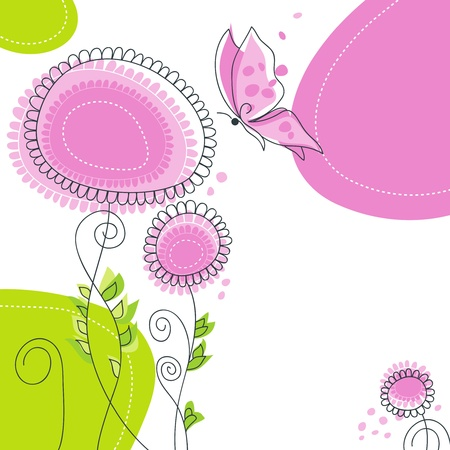 childlike: Floral background with butterfly